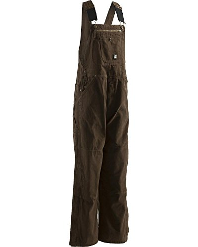 Berne Mens Unlined with Ashed Duck Bib Overall, Bark, 38X30 (Bib Knee Length)
