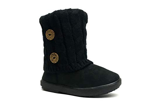 Kids Boots Toddler Girls Cute 2 Buttons Faux Fur Suede Knitting Shoe   285 (Toddler 10, Black)