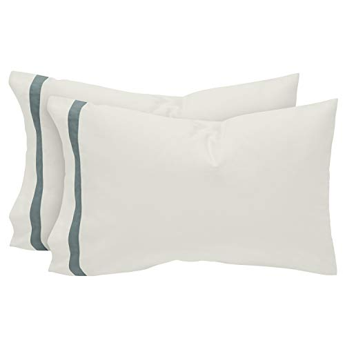 (Stone & Beam Banded 100% Percale Cotton Pillowcase Set, Easy Care, Standard, Lagoon)