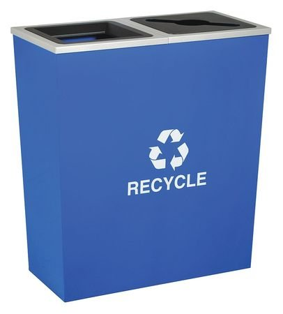 36 gal. Recycling Container Rectangular, Blue Steel & Plastic
