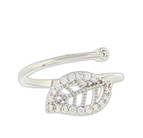 (Silver-Tone Leaf Bypass Ring with Imitation Stones, Size 7)
