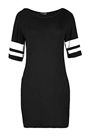 446aa24903d8 Fashion Star Ladies Sports Stripes Printed Sleeves Bodycon PJ Dress Baggy  Oversized Jersey Top: Amazon.co.uk: Clothing