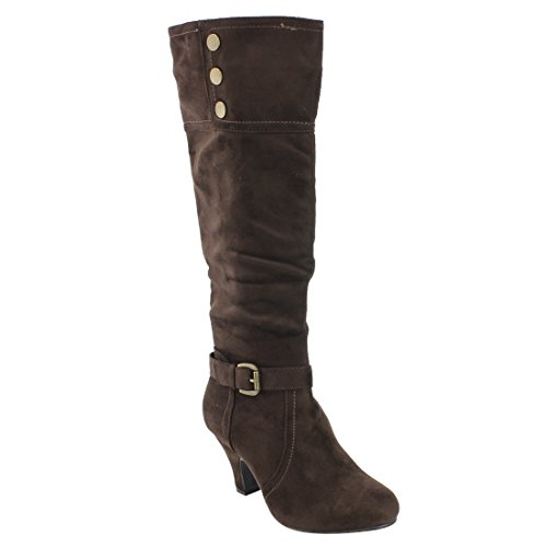 FOREVER FP09 Womens Ankle Strap Buckle Wrapped Heel Knee High Boots Brown ZeNIy