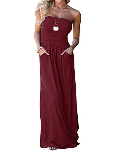 DLDY Women's Strapless Maxi Dress,Solid Elastic High Waist Off Shoulder Summer Beach Dresses for Womens with Pockets Wine Red