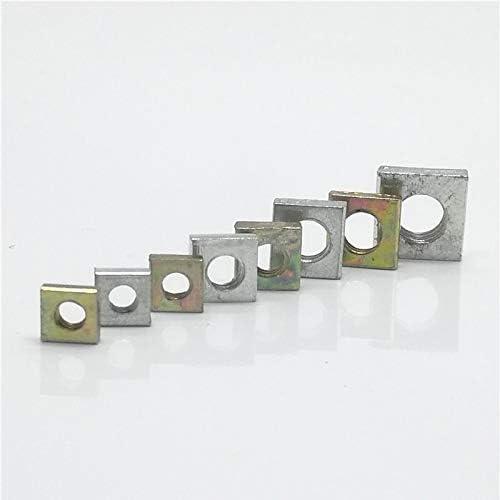 Durable nut 50st dunne vierkantmoer DIN562 M3 M4 M5 M6 Kleur verzinkt Vierkante moeren Wide range of applications SizeM3 50PCS