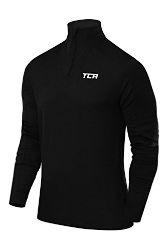 Price comparison product image TCA Men's Cloud Fleece 1 / 4 Zip Thermal Running Top with Zip Pockets - Black,  XXL