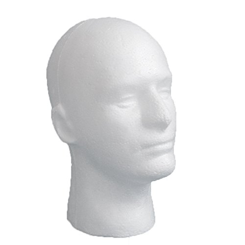 LIAMTU Male Wig Display Mannequin Head Stand Model Styrofoam Foam White (Styrofoam Head Manikin)