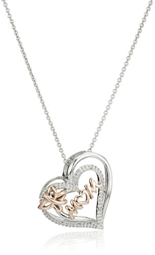 14K Rose Gold over Sterling Silver Mom Heart Pendant Necklace, 18""