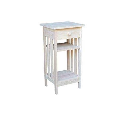 - Wood & Style Furniture Mission Telephone Stand, Unfinished Home Office Commerial Heavy Duty Strong Décor