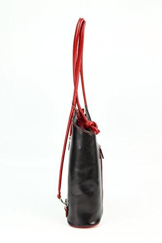 porté Multicolore au cm H dos Multicolore B x x Sac rouge pour noir Belli 28x28x8 main à femme T 68qwRPt6py