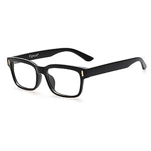 Cyxus Blue Light Blocking Computer Glasses for Anti Eye Strain UV Transparent Lens Black Frame Reading Glass Unisex (Men/Women)