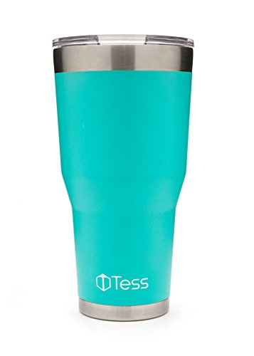 Vacuum Insulated Powder Coated Double Walled Tumbler 30oz, 18/8 Stainless Steel Travel Mug with Lid, Coffee Cup, Teal Turquoise Aqua Blue, Cold for 24 Hours Hot for 6 - Aqua Mug