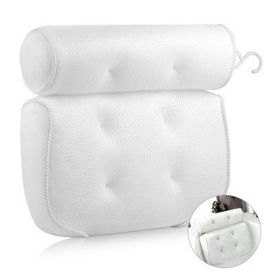 MAYFLY Bath Pillow Bath Pillows for Head and Neck with Suction Cups Spa Bath Pillow Spa Back Support Headrest Waterproof Bath Pillow