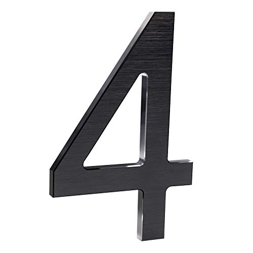 6 Inch Modern House Numbers- Premium Aluminum Floating Home Address Number with Elegant & Sophisticated Brushed Finish, Black, Number 4
