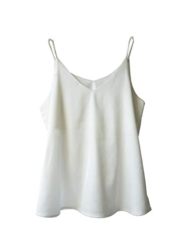Wantschun Womens Silk Satin Camisole Cami Plain Strappy Vest Top T-Shirt Blouse Tank Shirt V-Neck Spaghetti Strap US Size 3XL;White ()