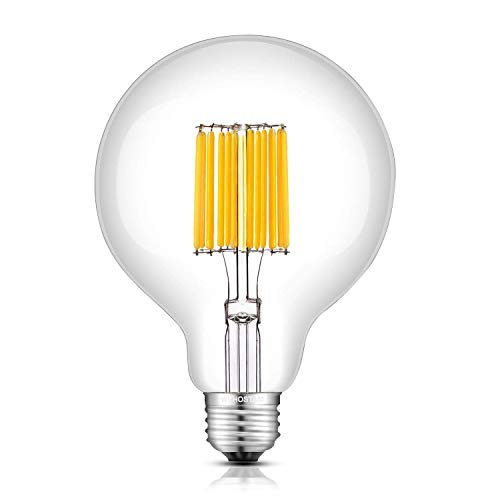 12W 1200LM Globe Shape LED Edison Bulb, 3000K Soft White, 120W Incandescent Equivalent, Retro Filament Style E26 Medium Base, Clear Glass G30 (G95), Non-Dimmable 1 Pack