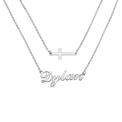 N / A Layered Name Necklace Personalized for Women - Custom Name Pendant for Her - Letter Necklace with Name Birthday Jewelry Gift for Mom - Gold/Silver/Rose Gold
