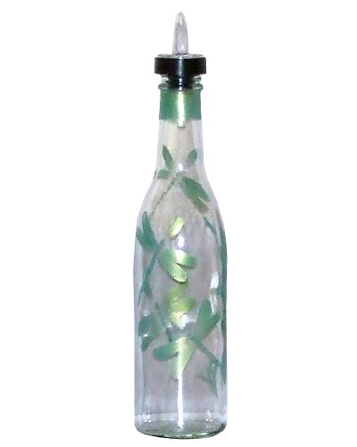 ArtisanStreet's Green Dragonfly Design Pour Bottle. Hand Painted