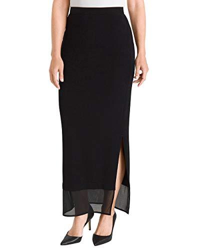 Chico's Women's Travelers Classic Mesh-Hem Skirt Size 16/18 XL (3) Black