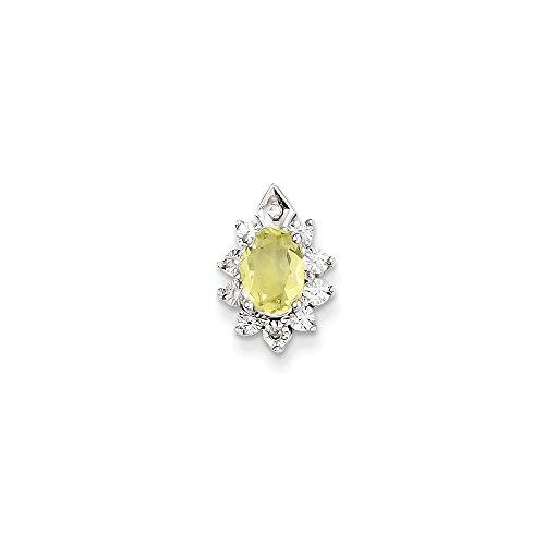 Color Si1 Charm (Sterling Silver Diamond & Lemon Quartz Pendant (Color H-I, Clarity SI1-SI2))