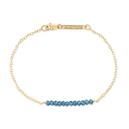 8 Inches 14k Gold Anchor - London Manori Bar Bracelet w/ Real Turquoise on Yellow 14K Gold Filled Anchor Chain, 8 Inches