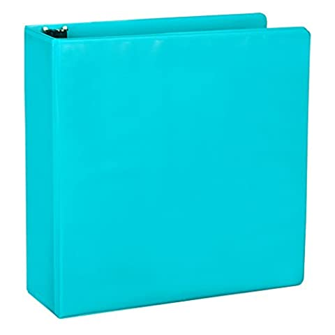 Samsill Fashion Color Durable 3 Ring View Binders, 2 Inch Round Ring, Customizable Clear View Cover, Turquoise, Two (Binders 3 Ring Fashion)