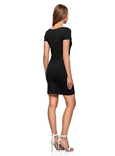 oodji Ultra Mujer Vestido de Punto (Pack de 2) Negro (2900N)