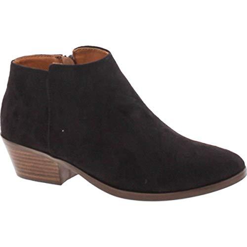 SODA Women's Mug Round Toe Faux Suede Stacked Heel Western Ankle Bootie,Black Sv,9
