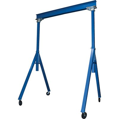 Vestil AHS-8-15-12 Steel Adjustable Height Gantry Crane, 8000 lbs Capacity,Overall W x H (in.) 76-1/8 x 155, Base Width (in.) 76-1/8, 91''-145'' Usable Height by Vestil