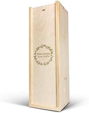 YourSurprise Caja de Vino Personalizada - Caja de Vino Grabada con Nombre, Texto, Diseños y Diferentes Tipos de Letras.