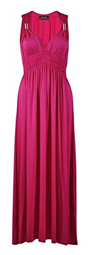 ng Stretch Elasticated Coil Maxi Ladies Dress#(Cerise Gypsy Boho Ring Elasticated Maxi#UK 8-10#Womens) ()