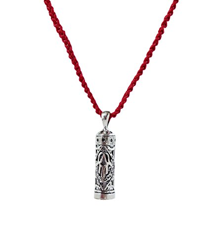 Sterling Silver Mezuzah Pendant - MIZZE Made for Luck Women's Traveler's Prayer in Sterling Silver Mezuzah Prayer Box on Red Knitted Necklace