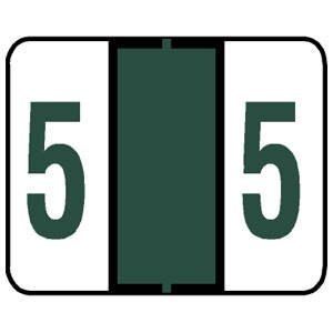 Tabbies Tab Products & Smead Compatible Numeric Label Rolls '#5' (Dark Green)