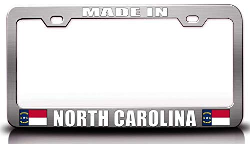 Customola - Made in North Carolina w/Flag State Flag Steel Metal License Plate Frame Ch