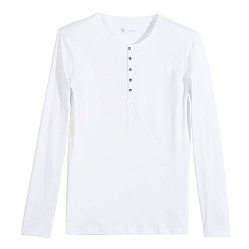 R Essentiel Mens Long-Sleeved Organic Cotton Grandad-Style T-Shirt White Size S