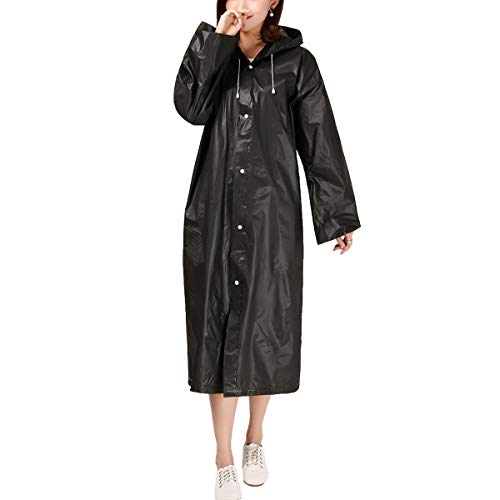 IWEIK Portable Raincoat Reusable Translucent Unisex Rain Poncho for Outdoor Backpacking Travel Camping Hiking (Black)