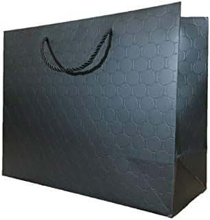 Large Black Gift Bags with Handles Bulk (13 x 5 x 10) Heavy Duty 250 g Paper Shopping Bags Premium Elegant Matte Modern Circle Embossed - Merchandise, Wedding, Baby Shower(120 Bags - Bulk)