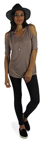 Free to Live Women's Comfy Cutout Shoulder Top (XL, Mocha)