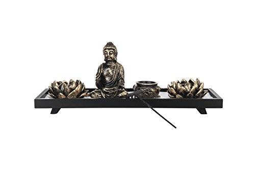 MyGift Home Zen Garden Set - Buddha Statue/Lotus Tea Light Candle Holder/Incense Burner Holder