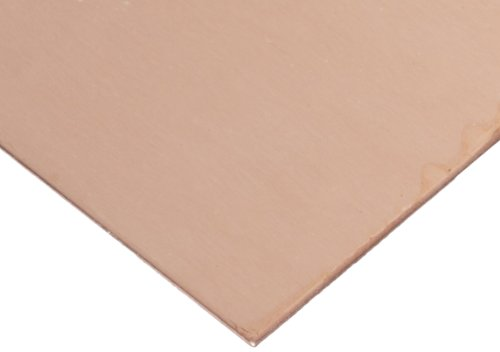 101 Copper Sheet, Unpolished (Mill) Finish, H02 Temper, ASTM B152, 0.125'' Thickness, 12'' Width, 24'' Length by Small Parts