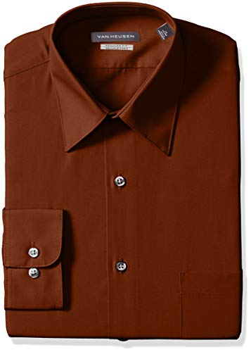 Van Heusen Men's Poplin Regular Fit Solid Point Collar Dress Shirt, Persimmon, 15