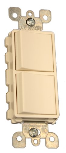 3 Single (Leviton 5641-T 15 Amp, 120/277 Volt, Decora Single-Pole / 3-Way AC Combination Switch, Commercial Grade, Grounding, Light Almond)