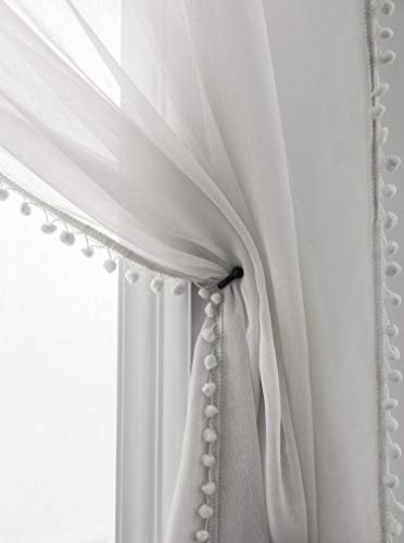 Selectex Linen Look Pom Pom Tasseled Sheer Curtains - Rod Pocket Voile Curtains for Living and Bedroom, Set of 2 Curtain Panels (52 x 63 inch, Gray)