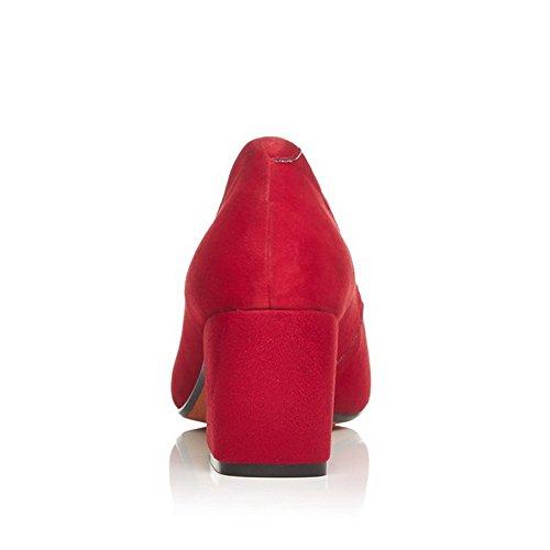 VogueZone009 Cuadrada Tacón Sólido Rojo Cerrada Puntera ancho Sin cordones Mujeres De salón rxqS6r