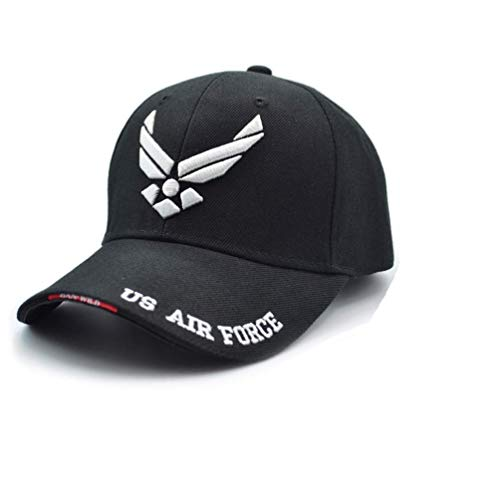 Afuraes US Air Force One Mens Baseball Cap Airsoft Sports Tactical Caps Navy Seal Army Cap Gorras Beisbol for Adult Adjustable (Black+air), Medium ()