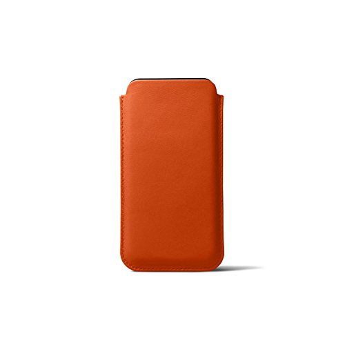 ❥ Lucrin - Leather Case with Pull Tab Compatible with iPhone XR and Wireless Charging - Orange - Genuine Leather orange iphone xr case 6