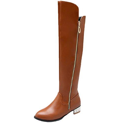 HooH Damen Overknee Stiefel Winter Einfach Silber Heel Knie hoch Reißverschluss Reitstiefel Braun