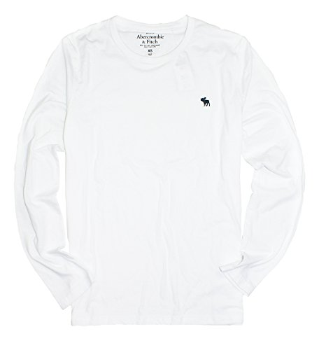 Abercrombie & Fitch Men's Long-Sleeve Easy Fit T-Shirt AF06 (X-Small, White)