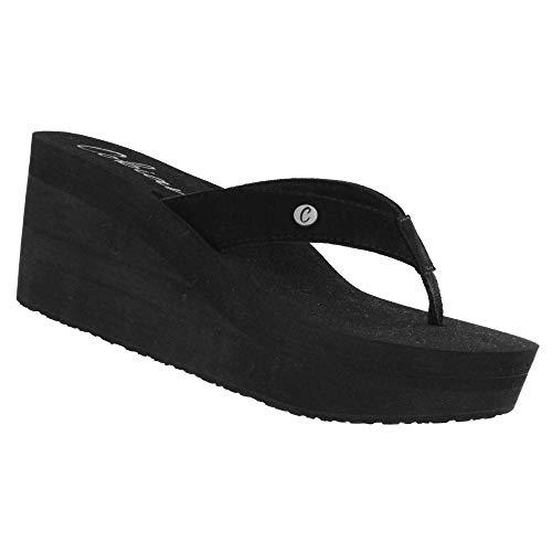 (Cobian Lanai Women's Flip Flop Wedge Sandal Black)
