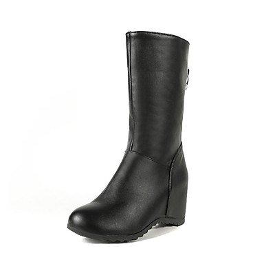Blanco De Cuña Round Moda Polipiel Zapatos Y Para Hebilla UK4 5 Botas Negro Otoño US6 5 Botas Toe Mujer 7 Botines Botines EU37 RTRY Tacón Casual Vestimenta 5 De CN37 Invierno 5RPT7Pn